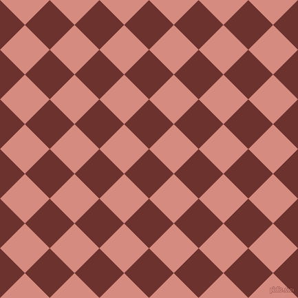 45/135 degree angle diagonal checkered chequered squares checker pattern checkers background, 51 pixel square size, , Kenyan Copper and My Pink checkers chequered checkered squares seamless tileable