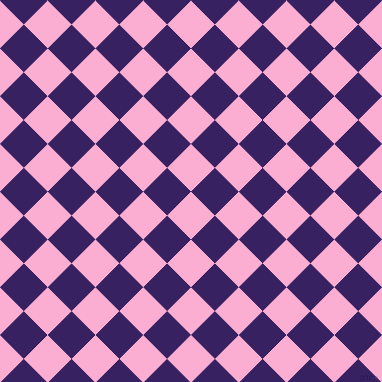 45/135 degree angle diagonal checkered chequered squares checker pattern checkers background, 68 pixel squares size, , Lavender Pink and Christalle checkers chequered checkered squares seamless tileable