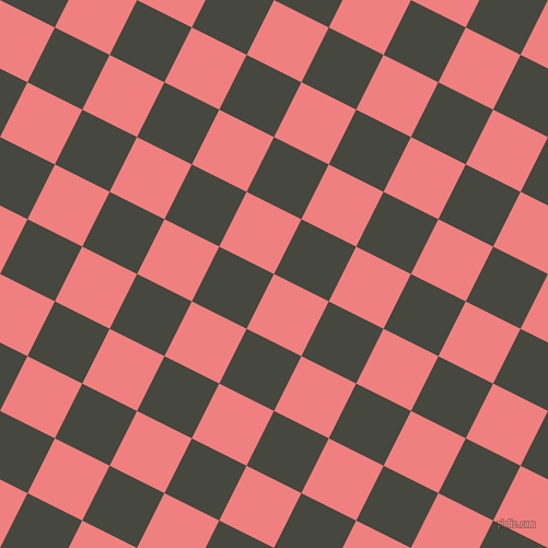 63/153 degree angle diagonal checkered chequered squares checker pattern checkers background, 56 pixel squares size, , Light Coral and Heavy Metal checkers chequered checkered squares seamless tileable