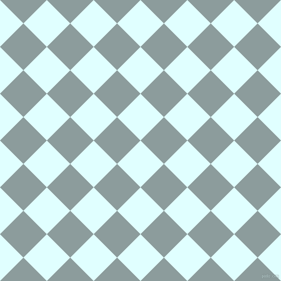 45/135 degree angle diagonal checkered chequered squares checker pattern checkers background, 68 pixel squares size, Light Cyan and Submarine checkers chequered checkered squares seamless tileable