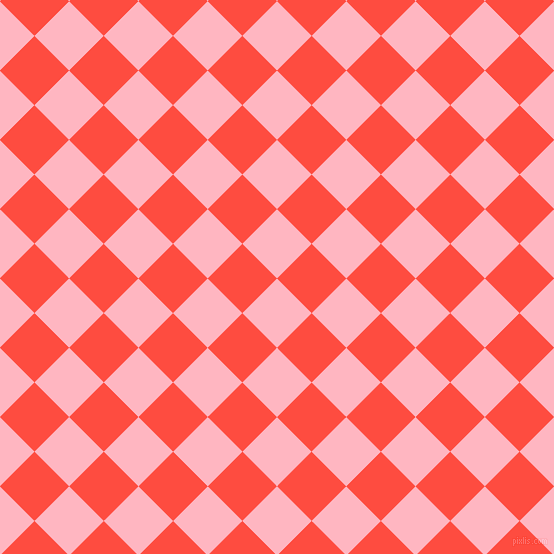 45/135 degree angle diagonal checkered chequered squares checker pattern checkers background, 49 pixel squares size, , Light Pink and Sunset Orange checkers chequered checkered squares seamless tileable