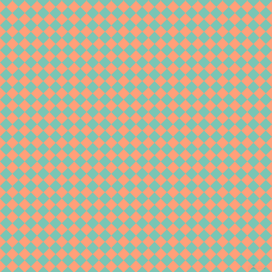 45/135 degree angle diagonal checkered chequered squares checker pattern checkers background, 18 pixel square size, , Light Salmon and Monte Carlo checkers chequered checkered squares seamless tileable