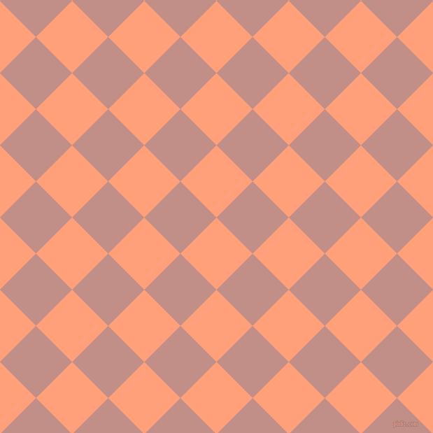 45/135 degree angle diagonal checkered chequered squares checker pattern checkers background, 73 pixel square size, , Light Salmon and Oriental Pink checkers chequered checkered squares seamless tileable
