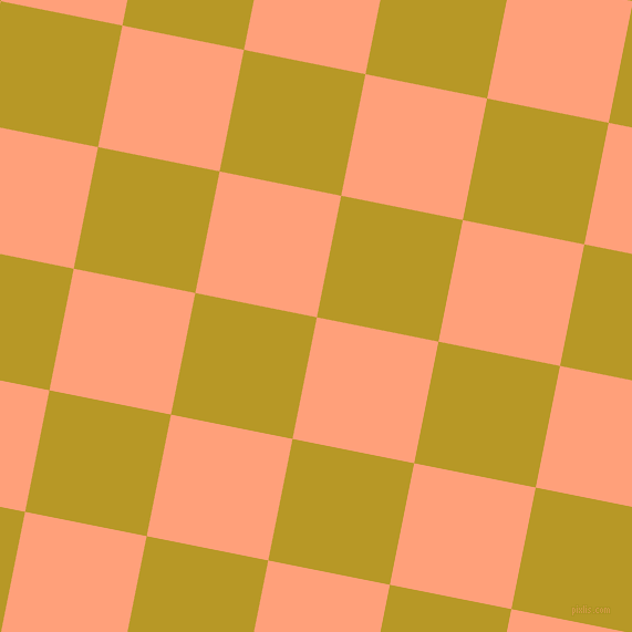 79/169 degree angle diagonal checkered chequered squares checker pattern checkers background, 112 pixel squares size, , Light Salmon and Sahara checkers chequered checkered squares seamless tileable