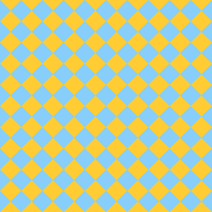 45/135 degree angle diagonal checkered chequered squares checker pattern checkers background, 49 pixel squares size, , Light Sky Blue and Sunglow checkers chequered checkered squares seamless tileable