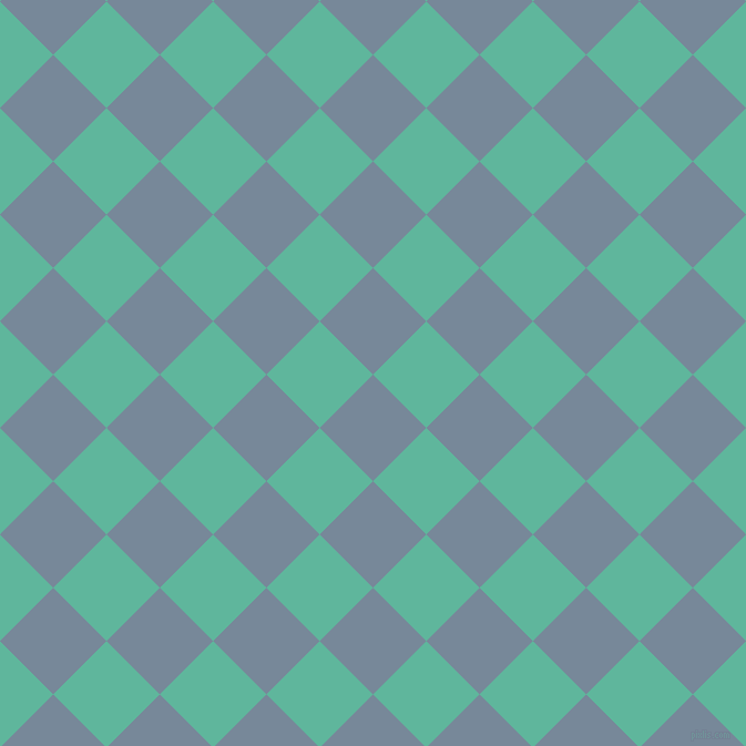 45/135 degree angle diagonal checkered chequered squares checker pattern checkers background, 68 pixel squares size, , Light Slate Grey and Keppel checkers chequered checkered squares seamless tileable