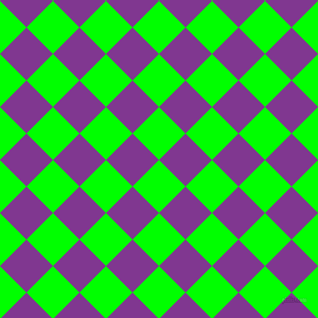 45/135 degree angle diagonal checkered chequered squares checker pattern checkers background, 54 pixel squares size, , Lime and Vivid Violet checkers chequered checkered squares seamless tileable
