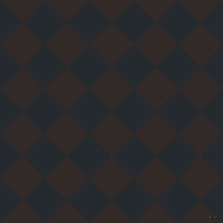 45/135 degree angle diagonal checkered chequered squares checker pattern checkers background, 110 pixel square size, , Livid Brown and Cinder checkers chequered checkered squares seamless tileable