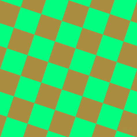 72/162 degree angle diagonal checkered chequered squares checker pattern checkers background, 75 pixel square size, Luxor Gold and Spring Green checkers chequered checkered squares seamless tileable