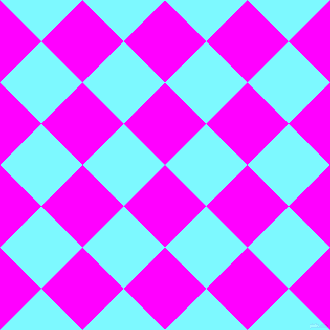 45/135 degree angle diagonal checkered chequered squares checker pattern checkers background, 114 pixel square size, , Magenta and Electric Blue checkers chequered checkered squares seamless tileable