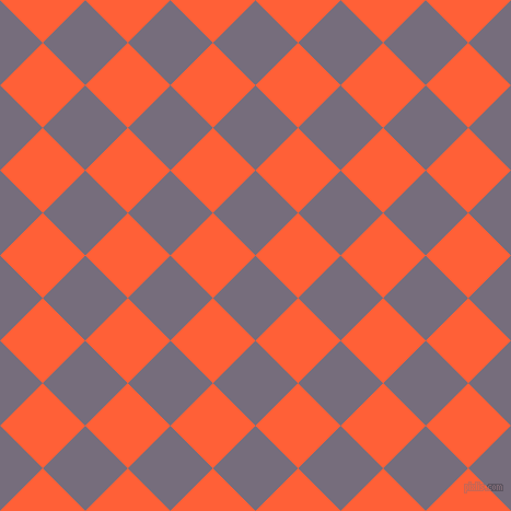 45/135 degree angle diagonal checkered chequered squares checker pattern checkers background, 55 pixel square size, , Mamba and Outrageous Orange checkers chequered checkered squares seamless tileable