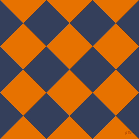 45/135 degree angle diagonal checkered chequered squares checker pattern checkers background, 110 pixel squares size, , Mango Tango and Gulf Blue checkers chequered checkered squares seamless tileable