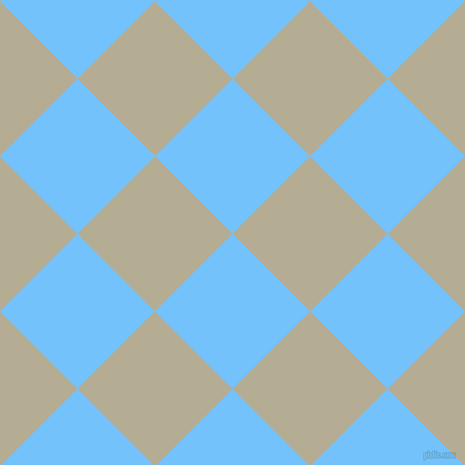 45/135 degree angle diagonal checkered chequered squares checker pattern checkers background, 121 pixel square size, , Maya Blue and Bison Hide checkers chequered checkered squares seamless tileable