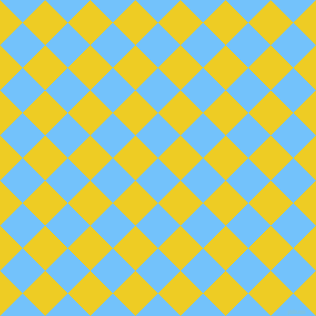 45/135 degree angle diagonal checkered chequered squares checker pattern checkers background, 64 pixel square size, , Maya Blue and Broom checkers chequered checkered squares seamless tileable