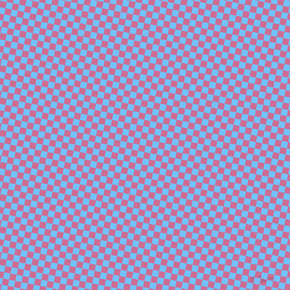 79/169 degree angle diagonal checkered chequered squares checker pattern checkers background, 9 pixel square size, , Maya Blue and Hopbush checkers chequered checkered squares seamless tileable