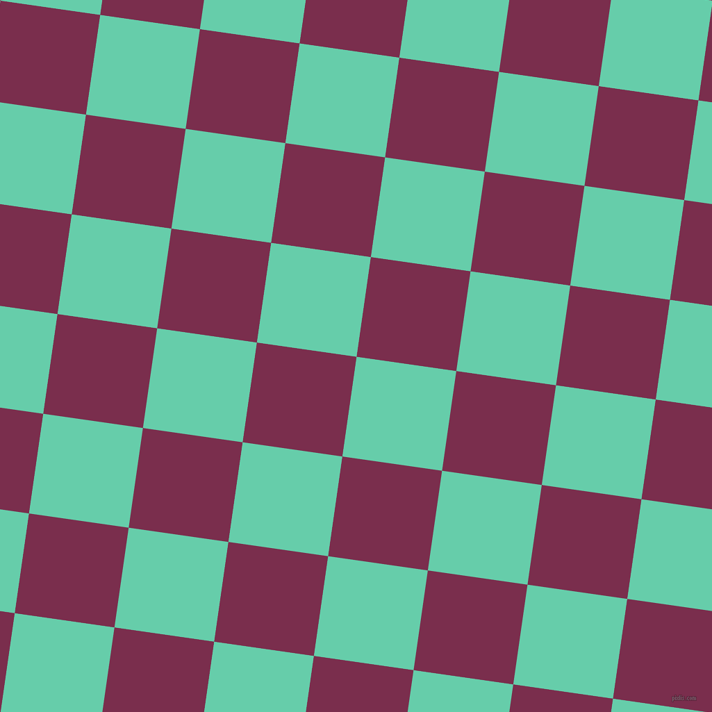 82/172 degree angle diagonal checkered chequered squares checker pattern checkers background, 145 pixel square size, , Medium Aquamarine and Flirt checkers chequered checkered squares seamless tileable