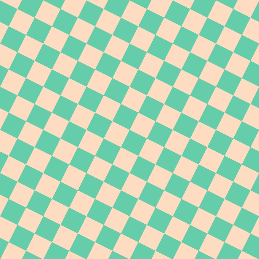 63/153 degree angle diagonal checkered chequered squares checker pattern checkers background, 65 pixel square size, , Medium Aquamarine and Karry checkers chequered checkered squares seamless tileable