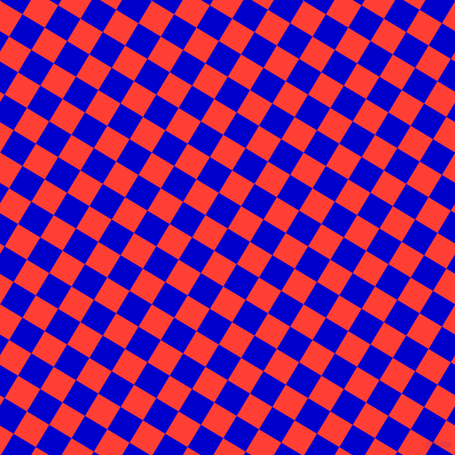 59/149 degree angle diagonal checkered chequered squares checker pattern checkers background, 37 pixel squares size, , Medium Blue and Red Orange checkers chequered checkered squares seamless tileable