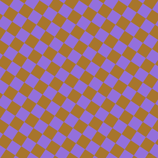 56/146 degree angle diagonal checkered chequered squares checker pattern checkers background, 36 pixel square size, , Medium Purple and Hot Toddy checkers chequered checkered squares seamless tileable