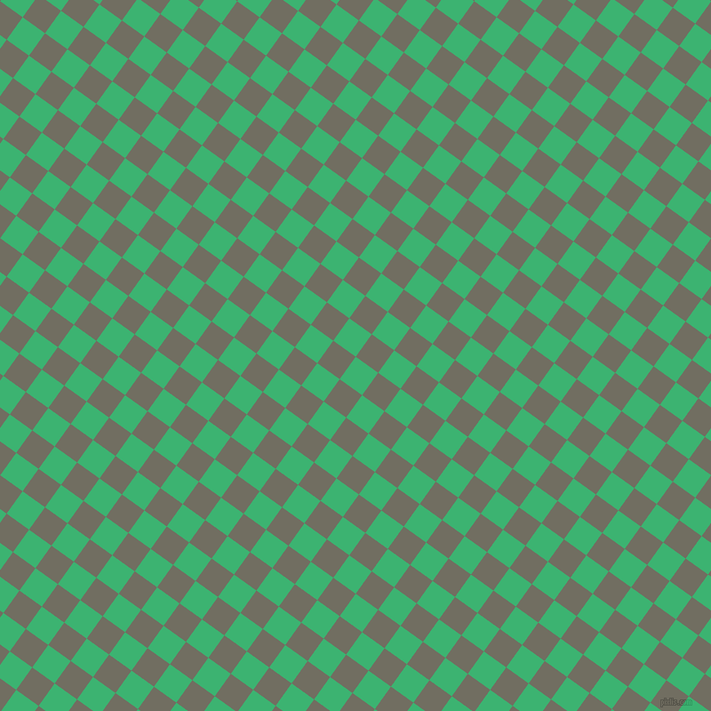 54/144 degree angle diagonal checkered chequered squares checker pattern checkers background, 31 pixel square size, , Medium Sea Green and Flint checkers chequered checkered squares seamless tileable