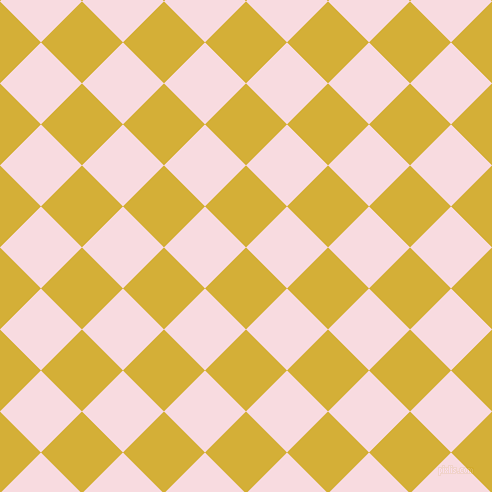 45/135 degree angle diagonal checkered chequered squares checker pattern checkers background, 58 pixel squares size, , Metallic Gold and Carousel Pink checkers chequered checkered squares seamless tileable