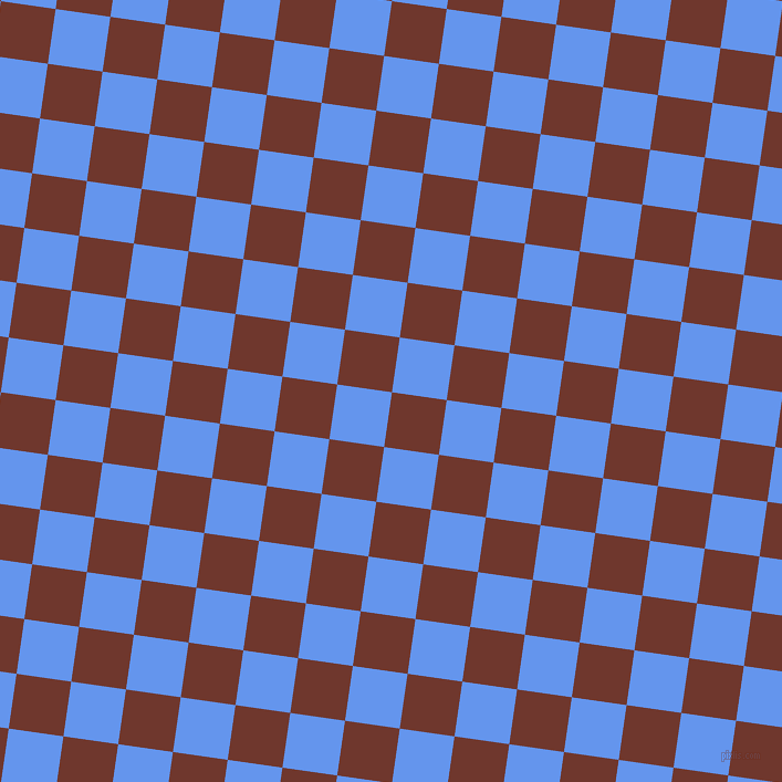 82/172 degree angle diagonal checkered chequered squares checker pattern checkers background, 50 pixel squares size, , Mocha and Cornflower Blue checkers chequered checkered squares seamless tileable