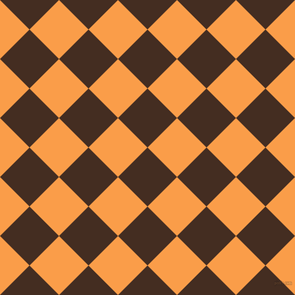 45/135 degree angle diagonal checkered chequered squares checker pattern checkers background, 84 pixel squares size, , Morocco Brown and Sunshade checkers chequered checkered squares seamless tileable