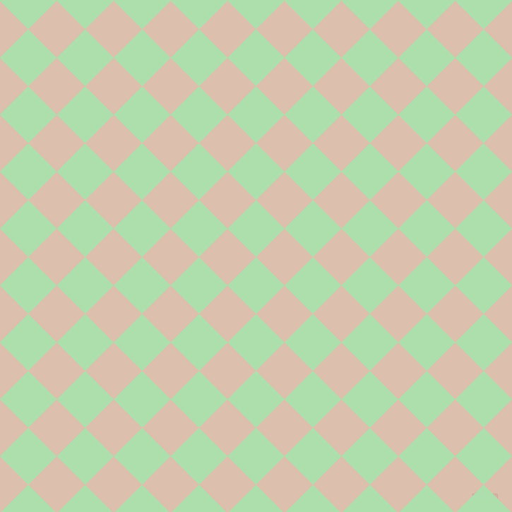 45/135 degree angle diagonal checkered chequered squares checker pattern checkers background, 57 pixel square size, , Moss Green and Just Right checkers chequered checkered squares seamless tileable