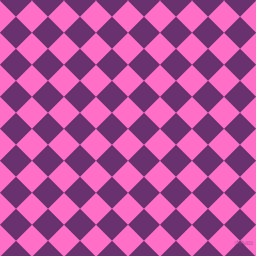 45/135 degree angle diagonal checkered chequered squares checker pattern checkers background, 45 pixel square size, , Neon Pink and Seance checkers chequered checkered squares seamless tileable