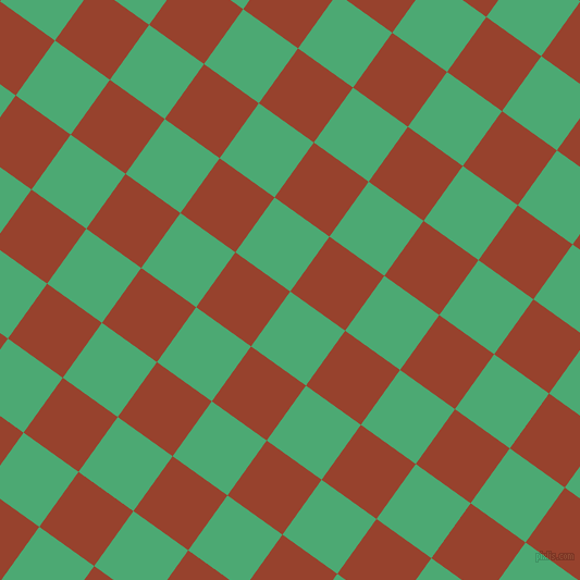 54/144 degree angle diagonal checkered chequered squares checker pattern checkers background, 62 pixel squares size, , Ocean Green and Tia Maria checkers chequered checkered squares seamless tileable