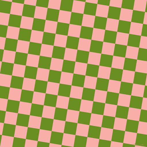 81/171 degree angle diagonal checkered chequered squares checker pattern checkers background, 42 pixel square size, , Olive Drab and Sundown checkers chequered checkered squares seamless tileable