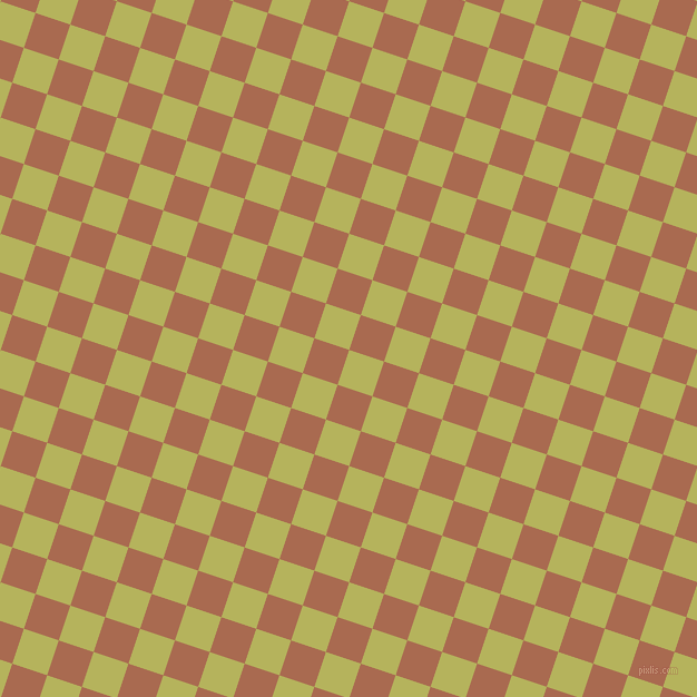 72/162 degree angle diagonal checkered chequered squares checker pattern checkers background, 33 pixel squares size, , Olive Green and Sante Fe checkers chequered checkered squares seamless tileable