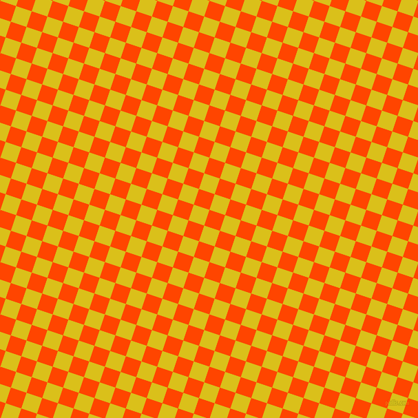 72/162 degree angle diagonal checkered chequered squares checker pattern checkers background, 24 pixel square size, Orange Red and Sunflower checkers chequered checkered squares seamless tileable