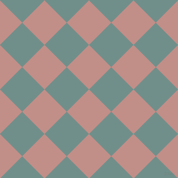 45/135 degree angle diagonal checkered chequered squares checker pattern checkers background, 104 pixel squares size, , Oriental Pink and Gumbo checkers chequered checkered squares seamless tileable