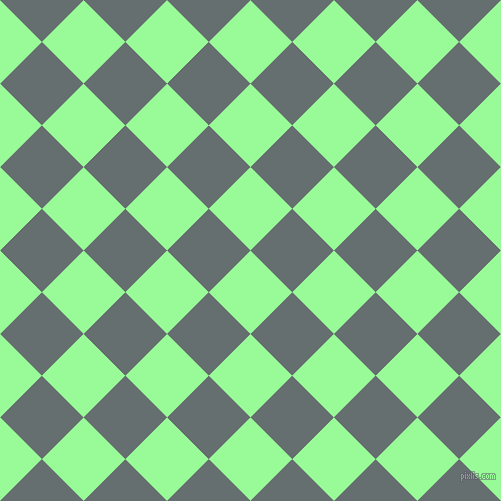 45/135 degree angle diagonal checkered chequered squares checker pattern checkers background, 59 pixel square size, , Pale Green and Nevada checkers chequered checkered squares seamless tileable