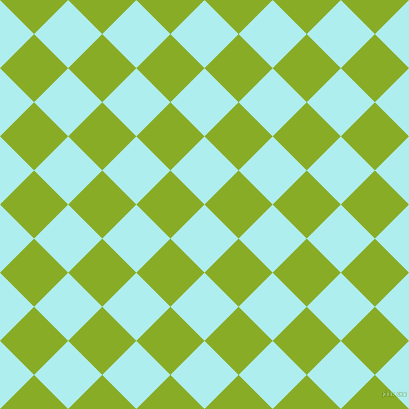 45/135 degree angle diagonal checkered chequered squares checker pattern checkers background, 70 pixel square size, , Pale Turquoise and Limerick checkers chequered checkered squares seamless tileable