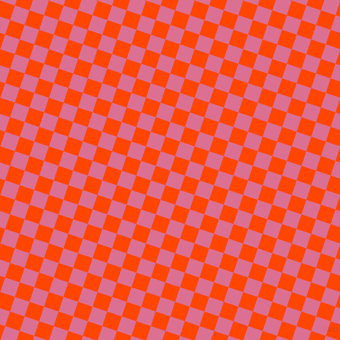 72/162 degree angle diagonal checkered chequered squares checker pattern checkers background, 30 pixel squares size, , Pale Violet Red and Orange Red checkers chequered checkered squares seamless tileable