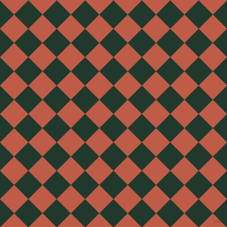 45/135 degree angle diagonal checkered chequered squares checker pattern checkers background, 65 pixel square size, , Palm Green and Flame Pea checkers chequered checkered squares seamless tileable