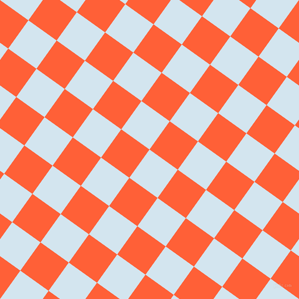 54/144 degree angle diagonal checkered chequered squares checker pattern checkers background, 69 pixel square size, , Pattens Blue and Outrageous Orange checkers chequered checkered squares seamless tileable