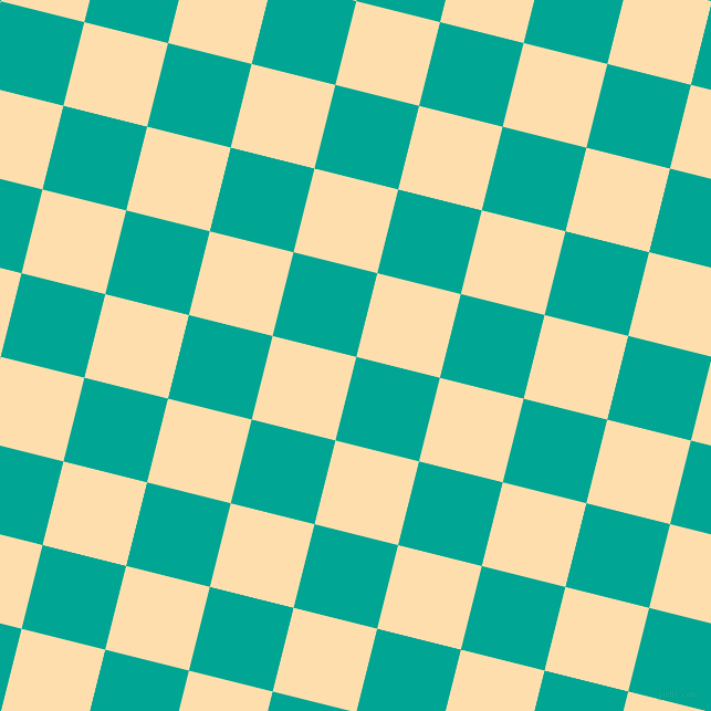 76/166 degree angle diagonal checkered chequered squares checker pattern checkers background, 78 pixel square size, , Persian Green and Navajo White checkers chequered checkered squares seamless tileable