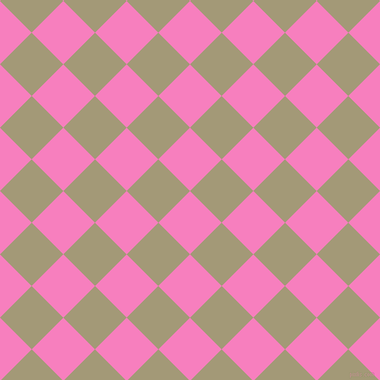 45/135 degree angle diagonal checkered chequered squares checker pattern checkers background, 64 pixel square size, , Persian Pink and Tallow checkers chequered checkered squares seamless tileable