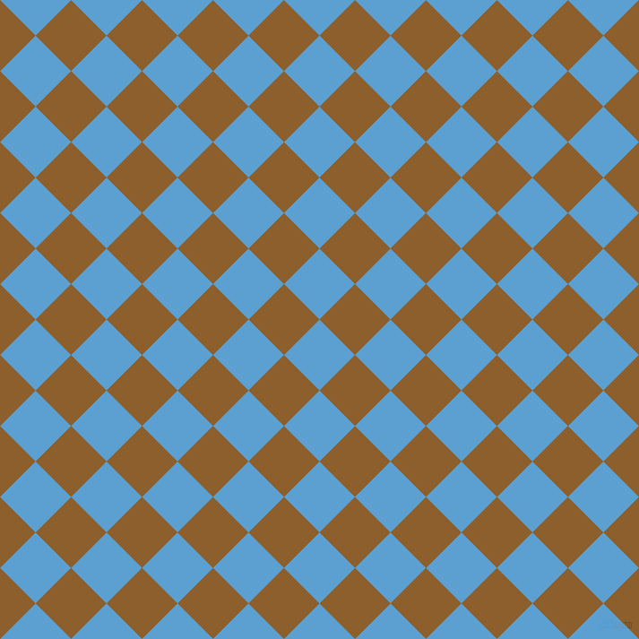 45/135 degree angle diagonal checkered chequered squares checker pattern checkers background, 56 pixel square size, , Picton Blue and Rusty Nail checkers chequered checkered squares seamless tileable