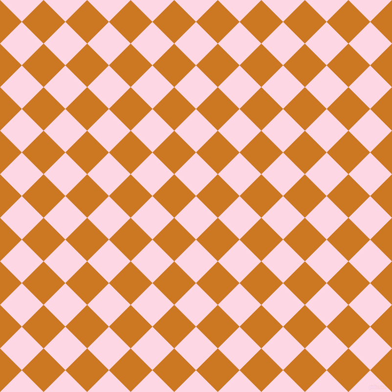 45/135 degree angle diagonal checkered chequered squares checker pattern checkers background, 63 pixel square size, , Pig Pink and Ochre checkers chequered checkered squares seamless tileable