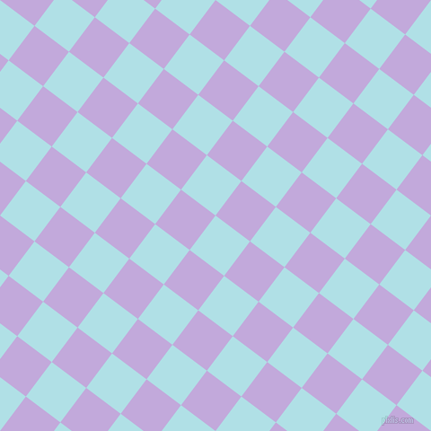 53/143 degree angle diagonal checkered chequered squares checker pattern checkers background, 48 pixel squares size, , Powder Blue and Perfume checkers chequered checkered squares seamless tileable