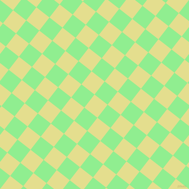 52/142 degree angle diagonal checkered chequered squares checker pattern checkers background, 69 pixel square size, , Primrose and Light Green checkers chequered checkered squares seamless tileable