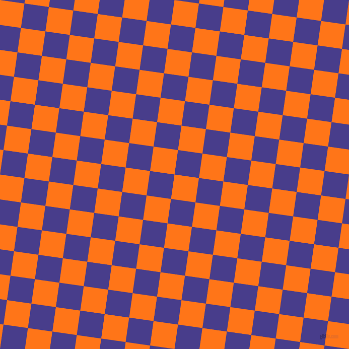 82/172 degree angle diagonal checkered chequered squares checker pattern checkers background, 49 pixel squares size, , Pumpkin and Dark Slate Blue checkers chequered checkered squares seamless tileable