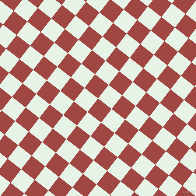 52/142 degree angle diagonal checkered chequered squares checker pattern checkers background, 55 pixel square size, , Roof Terracotta and Aqua Spring checkers chequered checkered squares seamless tileable