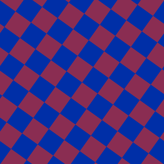 54/144 degree angle diagonal checkered chequered squares checker pattern checkers background, 67 pixel square size, , Rose Bud Cherry and International Klein Blue checkers chequered checkered squares seamless tileable