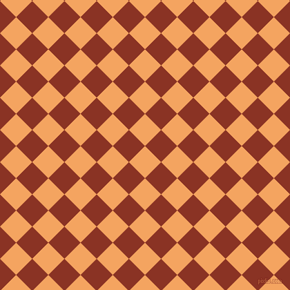 45/135 degree angle diagonal checkered chequered squares checker pattern checkers background, 33 pixel squares size, Sandy Brown and Burnt Umber checkers chequered checkered squares seamless tileable