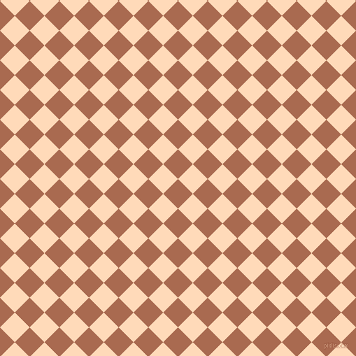 45/135 degree angle diagonal checkered chequered squares checker pattern checkers background, 30 pixel squares size, , Sante Fe and Peach Puff checkers chequered checkered squares seamless tileable